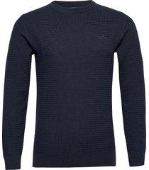 d1. basketweave c-neck gebreide trui met ronde kraag blauw gant