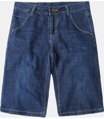plus size casual washed short jeans per uomo