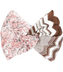 missoni crochet knit hair bow - pink
