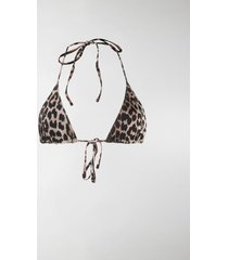 ganni leopard print triangle bikini top