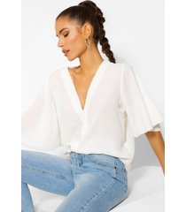 button through woven blouse, white