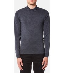 john smedley men's belper 30 gauge merino long sleeve polo shirt - charcoal - xl - grey