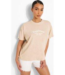 oversized overdye happiness t-shirt, stone