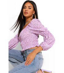 floral shirred blouse, lilac