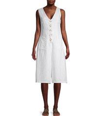 cistar new york women's stripe linen & cotton jumpsuit - white - size m