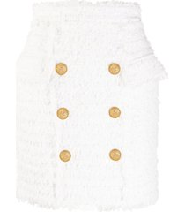 balmain high-waisted tweed fitted skirt - white