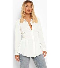blouse met geplooide taille, ivory