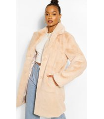 plush faux fur coat, sand