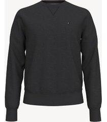 tommy hilfiger men's essential solid crewneck sweatshirt jet black - xxxl