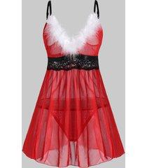 faux feather lace trim sheer mesh plus size lingerie babydoll