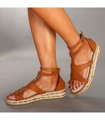 sandali con zeppa in microfibra a fibbia