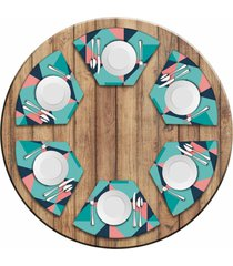 jogo americano love decor para mesa redonda wevans abstract blue kit com 6 pçs