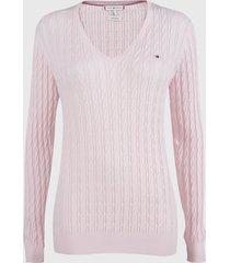sweater tommy hilfiger rosa - calce ajustado
