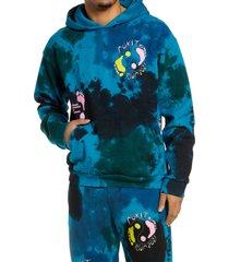 men's rokit voyage tie dye hooded sweatshirt, size medium - blue