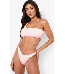 gekreukeld ombre bikini broekje met lage ronde uitsnijding, pink