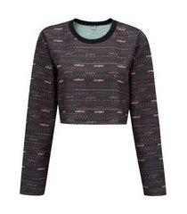 blusa de moletom feminina manga longa cropped colcci estampado