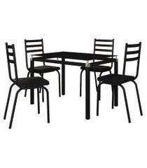 jogo de mesa malva 107cm e 4 cadeiras 118 preto - artefamol