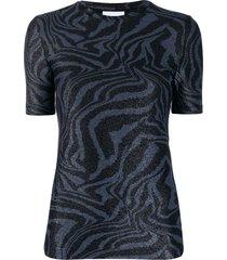 ganni tiger swirl print t-shirt - blue