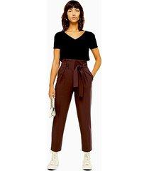 brown stitch belt peg pants - chocolate