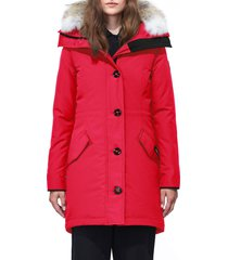 women's canada goose rossclair fusion fit genuine coyote fur trim down parka, size x-small - red