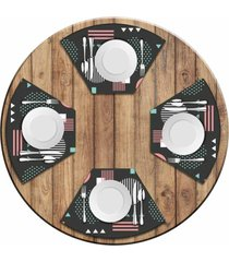 jogo americano love decor para mesa redonda wevans abstract circulos kit com 4 pçs