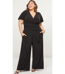 lane bryant women's faux-wrap flutter-sleeve jumpsuit 22/24 black