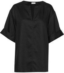flora blouse blouses short-sleeved zwart filippa k