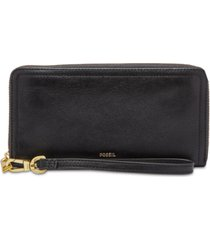 fossil logan leather rfid zip around wallet wristlet