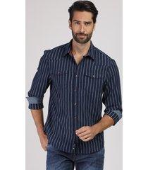 camisa masculina comfort listrada em flanela com bolso manga longa azul marinho