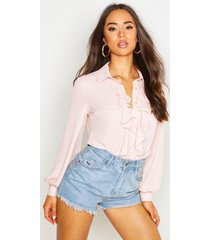 blouse met ruches, blush