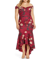 plus size women's chi chi london curve osia floral embroidered off the shoulder mermaid gown