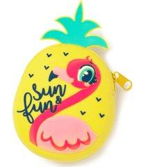 porta moedas em silicone puket flamingo abacaxi amarelo - amarelo - menina - dafiti