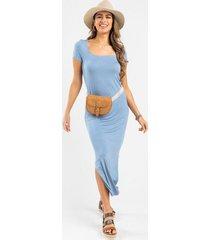 britt knit maxi dress - blue