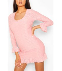 broderie anglaise scoop neck bodycon dress, coral