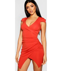 cap sleeved wrap detail bodycon dress, red
