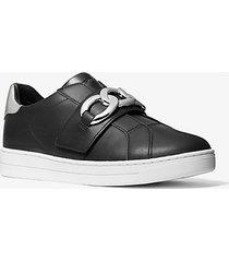 mk sneaker kenna in pelle con dettagli a catena - nero/argento (argento) - michael kors