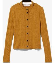 proenza schouler white label rib knit crewneck cardigan 00978 resin/yellow m