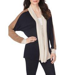 women's foxcroft reede colorblock cardigan, size x-large - blue