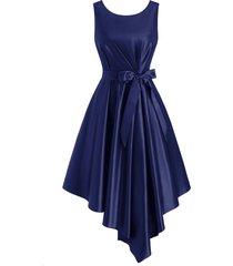 belted pleated waisted sleeveless asymmetrical dress