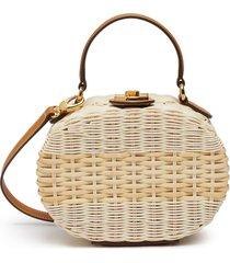 gianna' oval rattan shoulder bag