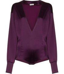 satin bodysuit purple