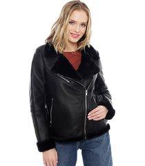 chaqueta jacqueline de yong lynn faux negro - calce regular