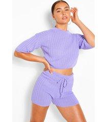 geribbelde top en shorts set, lila