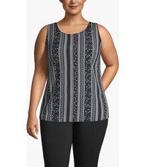 lane bryant women's mixed media cutout-back tank 14 black floral stripe