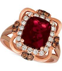 le vian raspberry rhodolite garnet (3-1/6 ct. t.w.) & diamond (5/8 ct. t.w.) ring in 14k rose gold