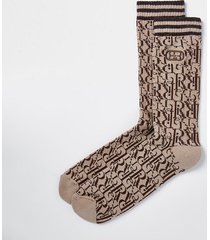 river island mens brown ri monogram socks