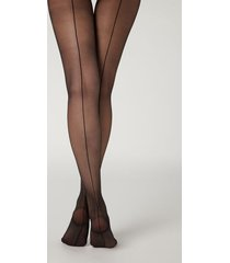 calzedonia 20 denier sheer back seam tights woman black size 1/2