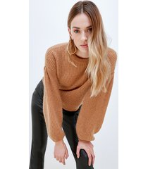 motivi pullover lurex con maniche ampie donna marrone