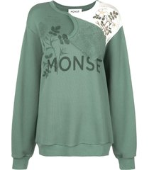 monse flap shoulder botanical sweatshirt - green