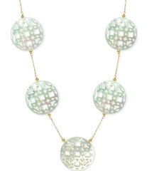 """mother of pearl (30mm) cutout disc 18"""" chain necklace in 14k gold"""